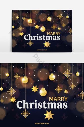 Fondo de Navidad con puntos brillantes, estrellas doradas claras, burbujas y copos de nieve. Elementos graficos Modelo AI