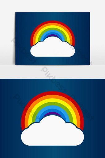 Ilustración Vector Colorido Arco Iris Con Cielo Creativo Arco Iris Nube Elementos graficos Modelo AI