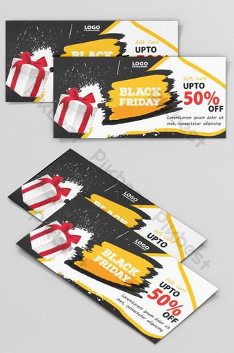 Conception de cartes de coupon Black Friday Modèle PSD