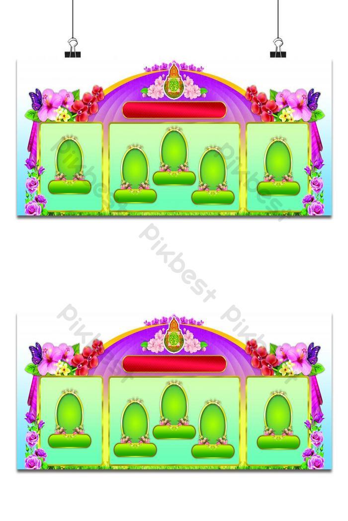 latar belakang corak thai dengan bingkai foto