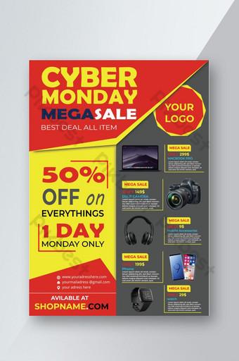Modèle de flyer noir Cyber Monday avec photo Modèle AI