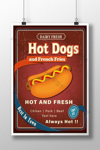 cartel publicitario creativo de comida para perros calientes y diseño gráfico de banner de comida de restaurante Modelo EPS