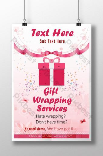 Hermoso envoltorio de regalo publicitario rosa para el amor y el diseño gráfico de carteles de boda Modelo EPS