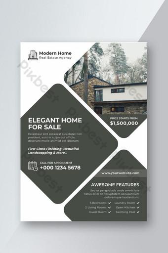 Modèle de Flyer de design d'intérieur de propriété immobilière moderne élégante Modèle AI