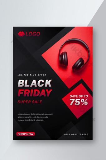 Modèle de Flyer de conception plate de vente vendredi noir moderne Modèle AI