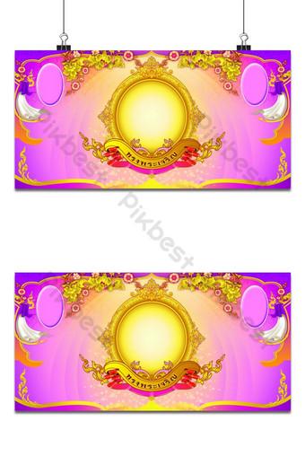 Thai pattern background na may frame ng larawan Background Template PSD