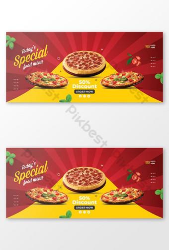 Plantilla de portada de facebook de venta de pizza Modelo EPS