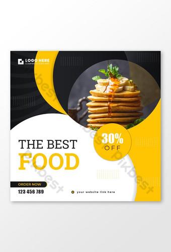 desain spanduk iklan posting media sosial untuk penawaran diskon restoran cepat saji promosi Templat AI