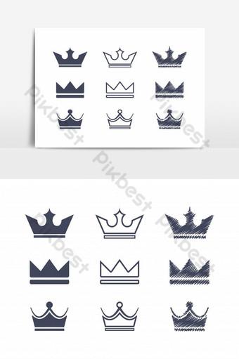 Corona Icon Collection Logo Conjunto de vectores Elementos graficos Modelo AI