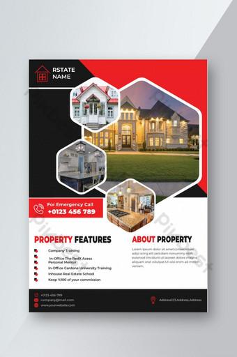 Plantillas de diseño de folletos inmobiliarios de color rojo Modelo EPS