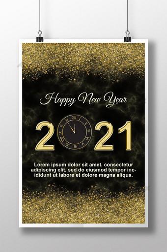 selamat tahun baru 2021 berharap desain template poster Templat PSD