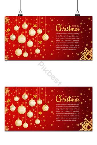 Feliz Navidad y próspero año nuevo Fondo de Navidad Diseño de copos de nieve y bolas Fondos Modelo EPS