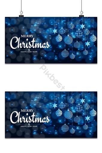 Feliz navidad y próspero año nuevo fondo de navidad con diseño de copos de nieve y bolas Fondos Modelo EPS