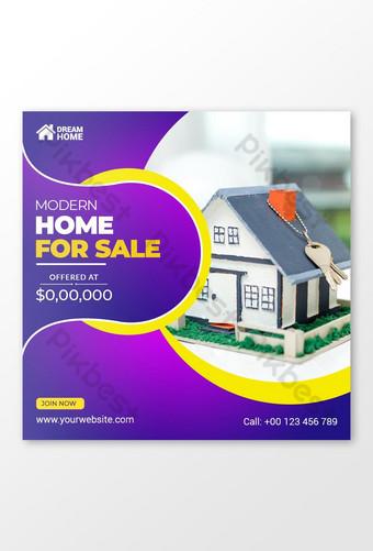 Casa de bienes raíces en venta Banner Plantilla de publicación de redes sociales Modelo PSD