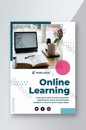 Conception de flyer d'apprentissage en ligne simple et fraîche Modèle PSD