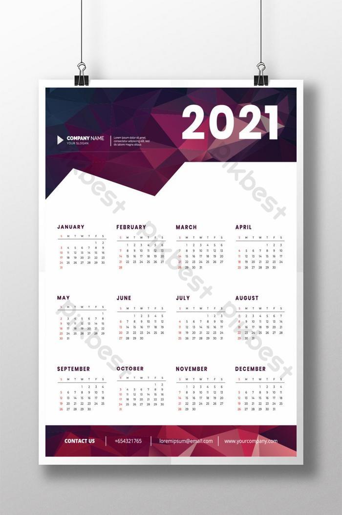 templat reka bentuk kalendar dinding berwarna 2021