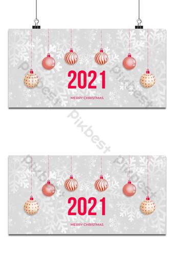 Feliz navidad y próspero año nuevo fondo de navidad con copos de nieve y bolas Fondos Modelo EPS