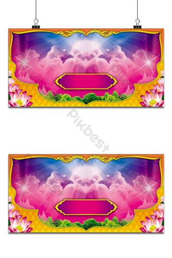 التايلاندية نمط الخلفية مع زهرة اللوتس خلفيات قالب PSD