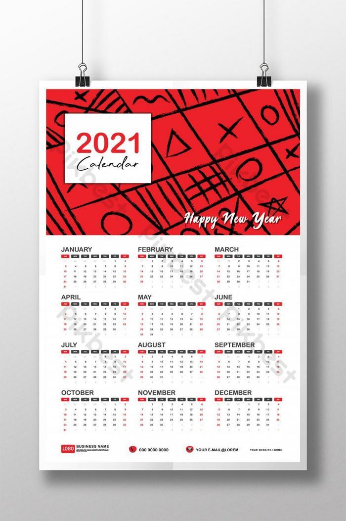 latar belakang merah templat kalendar 2021