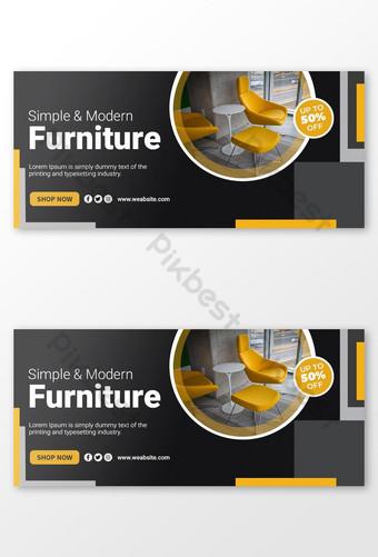 Plantilla de portada de facebook o banner web de muebles Psd Premium Modelo PSD