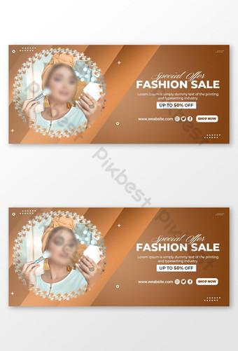 Plantilla de portada de facebook o banner web de venta de moda Psd Premium Modelo PSD
