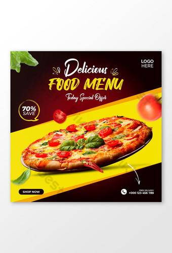 Plantilla de publicación de banner de promoción de redes sociales e Instagram de pizza Modelo PSD