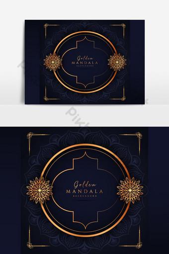 الأزهار الفاخرة الزينة تصميم خلفية ماندالا في لون الذهب صور PNG قالب AI