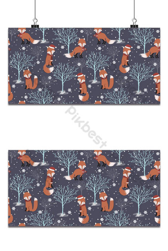 Patrón sin costuras de Navidad con fondo de zorro Patrón de invierno con papel de regalo de árbol seco Fondos Modelo EPS