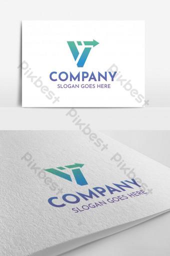 Logotipo abstracto moderno de letra V Modelo AI