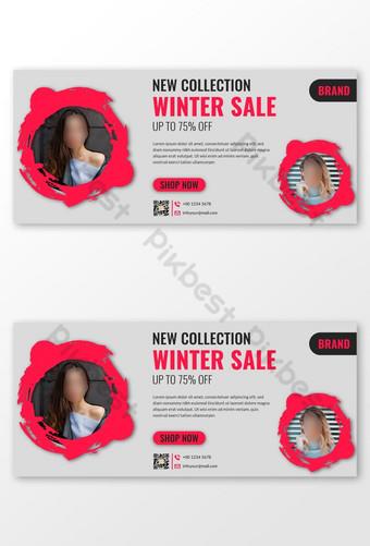 Winter Fashion Season Facebook Cover Banner Templates Design Template EPS