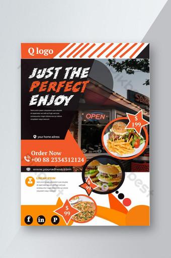 Modèle de flyer de restauration rapide de restaurant moderne avec photo Modèle AI