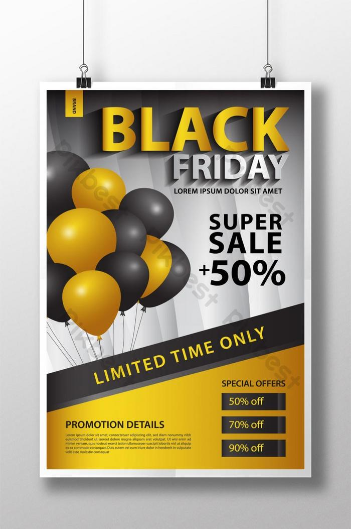 black friday sale promotion poster template