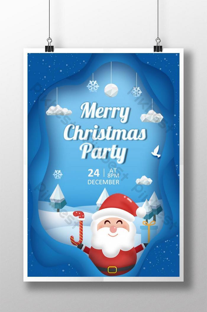 niebieski plakat świąteczny w stylu cięcia papieru