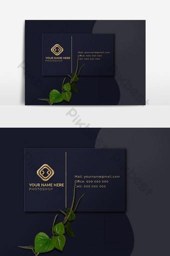 Makieta logo 3D złotej wizytówki Elementy graficzne Szablon PSD