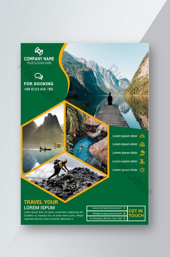 templat desain brosur wisata perjalanan yang menyenangkan dengan gaya abstrak dan tata letak konsep modern Templat EPS