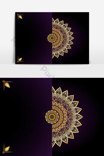 خلفية ماندالا الفاخرة مع نمط الأرابيسك الذهبي الطراز العربي الإسلامي الشرقي صور PNG قالب AI