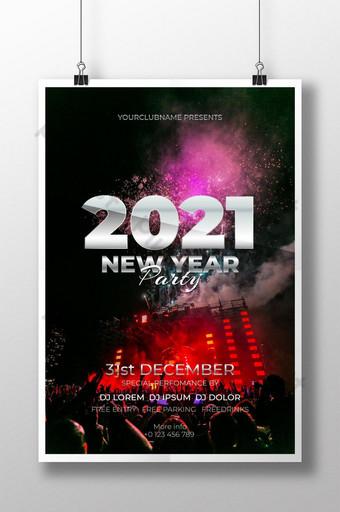selamat tahun baru desain poster 2021 Templat AI