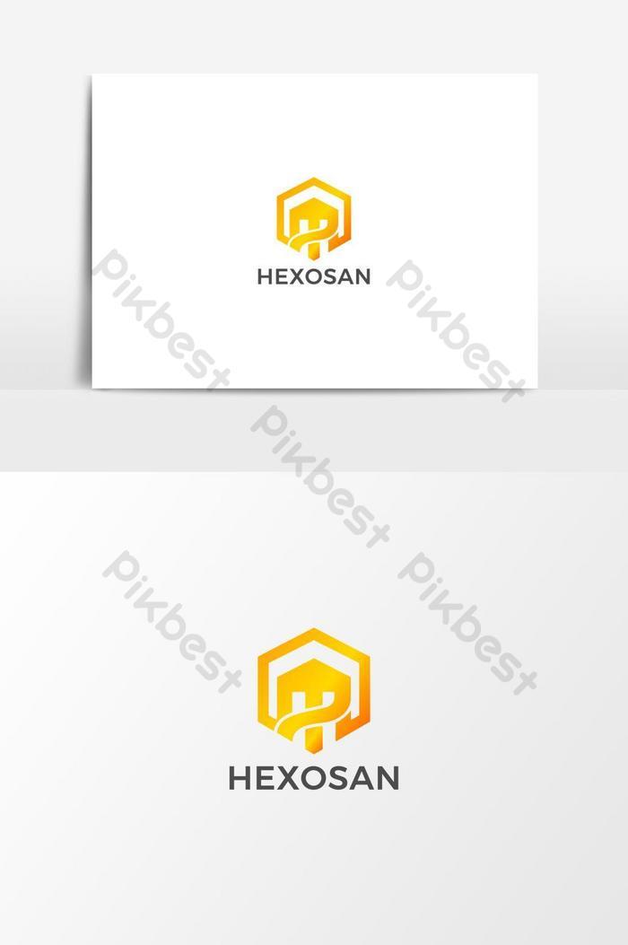 modelo de design de logotipo da marca hexosan