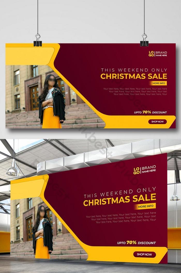 novo design incrível de modelo de banner da web de natal para publicidade de venda de moda
