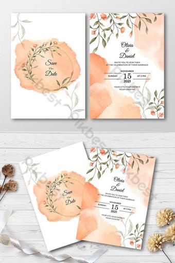 Conception florale de carte d'invitation de mariage dessin main élégante Modèle AI