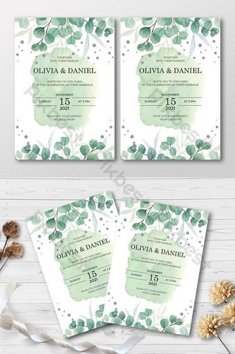 Ahorre la tarjeta de invitación de boda de fecha con hojas elegantes Modelo AI