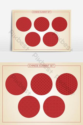 Patrón sin costuras chino en 5 estilos Adecuado para tarjetas de banner gráfico Elementos graficos Modelo EPS