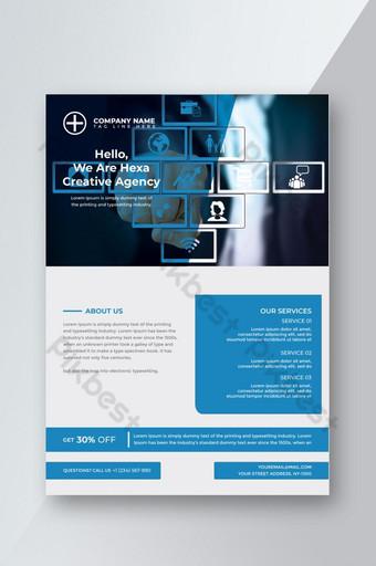 conception de flyer simple agence créative bleue Modèle PSD