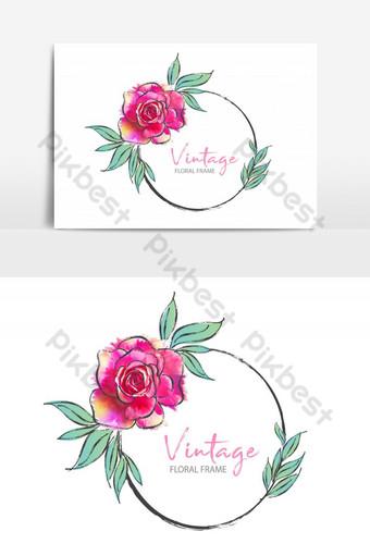 Marco redondo vintage con ilustración de vector de rosa se puede utilizar para invitación Elementos graficos Modelo EPS