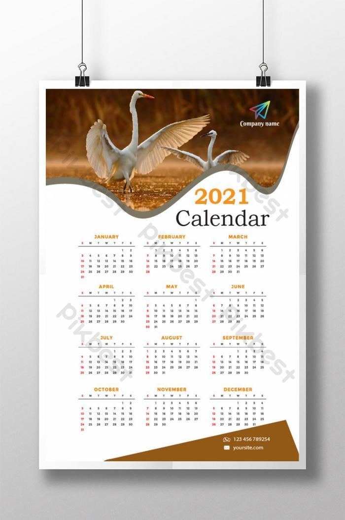 templat reka bentuk kalendar tahun baru 2021 yang kreatif dan bergaya