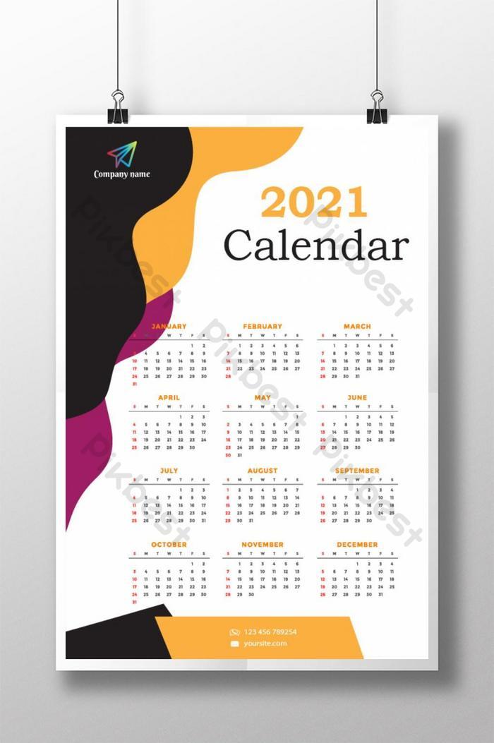 templat reka bentuk poster kalendar tahun baru 2021