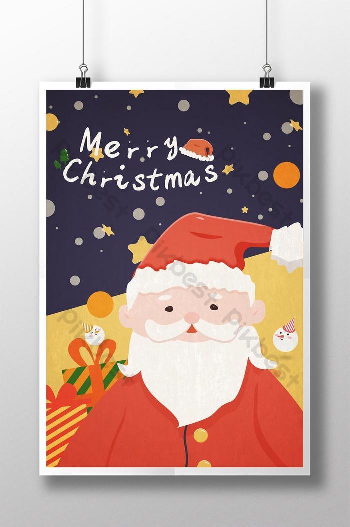 poster selamat hari krismas dengan santa claus