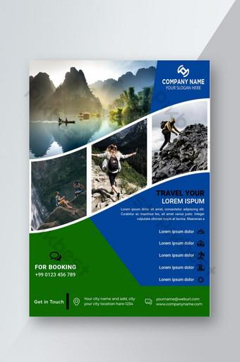 Le modèle de conception de flyer de voyage heureux peut utiliser 04 photo et mise en page de concept moderne Modèle EPS