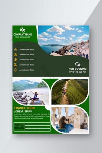 Le modèle de conception de flyer de voyage heureux peut UTILISER 04 Police gratuite modifiable de photo et de texte Modèle EPS