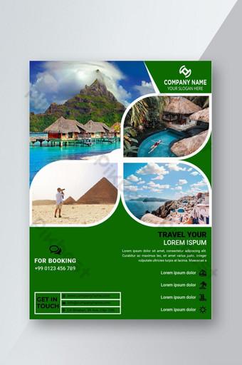 Le modèle de conception de flyer de voyage heureux peut UTILISER 04 Photo et texte facile modifiable Modèle EPS